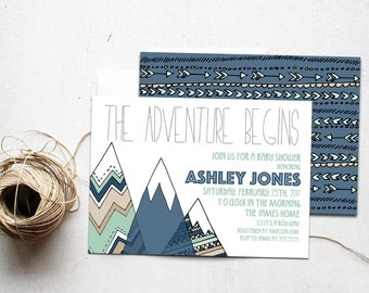 Adventure Baby Shower Invitation, Woodland Boy Mountains Invite Printable, The Adventure Begins, Camping Theme, Navy & Mint Adventure Awaits