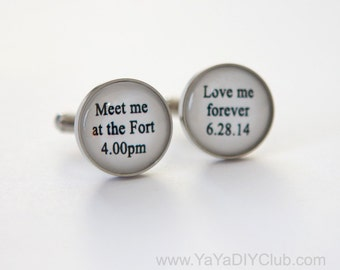Groom Cufflink, Personalized groom cufflinks, Bride to Groom Gift Wedding day, Bride to Groom Gift idea, Beach Wedding Favor STAINLESS STEEL