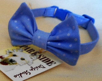 Blue With Silver Dot Bow Tie Collar For Cats