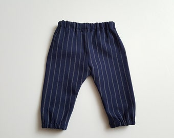 Photography Baseball Stretch Pants - newborn though 3T - photography prop - navy blue with white stripes