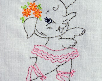 Vintage Elephant Ballerina in Tutu Machine Embroidery Design 2 sizes, 4x4 or 5x7 colorwork, INSTANT DOWNLOAD. girl, toddler, baby