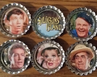 Six Classic Gilligan's  Island TV Show on Silver Bottle Cap Magnets