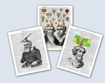Montgolfier Art, Montgolfier Air Balloon Art, Pythagoras  Math Art, Galileo Galilei Astronomy Art, Educational fantasy Prints, Shool Decor