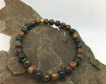 Grounded - Bloodstone, Bronzite, Wood and Gold-Filled Elements