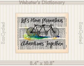 Marvelous Adventures Together Bicycle Built for Two 2, Vintage Upcycled Dictionary Art Print Book Art Prints wedding anniversary tandem bike