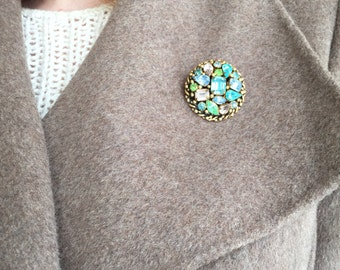 Pastel Rhinestone Brooch {Barclay} Round Gold Setting with Pastel Aqua/Lime/Turquoise/Lavender Stones, c1946-57