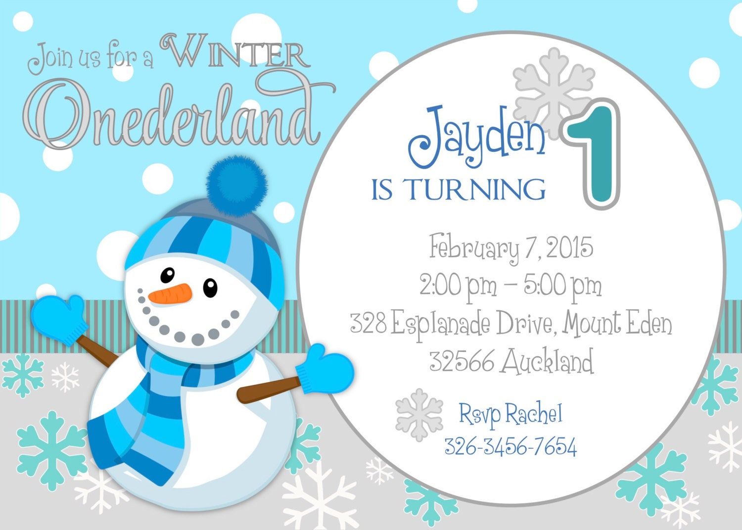 Winter Onederland / Wonderland first birthday party invitation