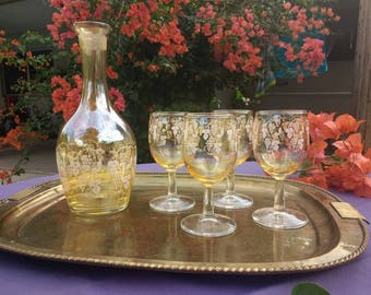 Vintage West Virginia glass decanter and glass set