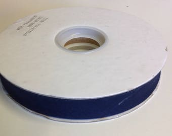 Roll of 25m of polycotton bias ribbon 18mm, navy blue