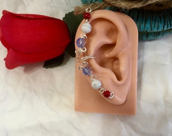 red white and blue ear wrap, beaded ear cuff, wire wrap ear cuff, holiday ear cuff, cuff and wrap earring