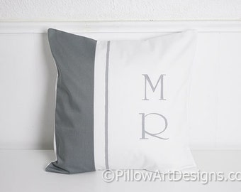 Monogram Initial Pillow Cover Grey and White Cotton Hand Painted Made in Canada