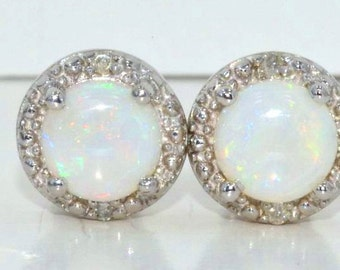 14Kt White Gold Natural Opal & Diamond Round Stud Earrings