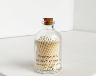 White Wooden Matches. Match Bottle. Corked Jar. Matchsticks. Stocking Stuffer. Christmas Gift.