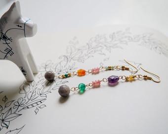 Multi-colour-asymmetrical-gemstone-beaded-dangle earrings-gold-labradorite-green onyx-carnelian-turquoise-amethyst-pink jade