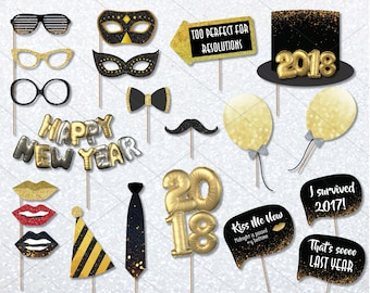 2018 New Years Photo Booth Props Printable, New Years Eve Photo Booth Props, Printable Photo Booth Props, Black and Gold Photo Props