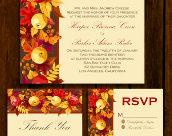 Autumn Apple: Wedding Invitation Suite;     Print at Home Wedding Invitations