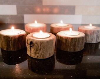 Ten Driftwood Tea Light Candle Holders