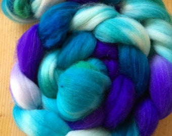 hand-painted super wash merino wool and nylon roving (top)