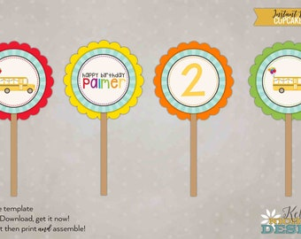 Wheels on the Bus Birthday Party Cupcake Toppers template, DIY, Instant Download #B121