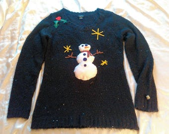 Handmade Beautiful Ugly Snowman Christmas Black Embellished Sequin With Silver Jingle Bell Sweater Size XL