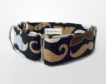 RARE * Mustache Dog Collar - Martingale Collar or Side Release Buckle Collar - Multi-color mustaches on dark gray and black background