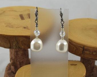 White Go For Baroque Swarovski pearl and crystal gunmetal leverback earrings
