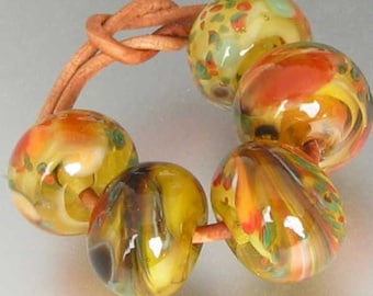 Vermont Autumn Lampwork Spacer Handmade Glass Beads sra 2-6 bead sets