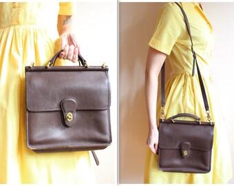 1980s Handbag // Leather COACH Crossbody Handbag // vintage COACH handbag