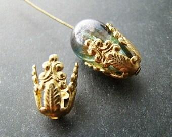 Raw Brass Victorian Scroll Filigree Long Bead Caps, Bead Cones, Tassel Ends 12mm Tall - 4