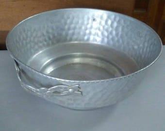 Aluminum Bowl, Vintage Bowl, Hammered Metal Bowl, Serving Bowl, Metal Bowl, Vintage Aluminum, Handled Bowl, Nasco Italy, Silver Metal Bowl