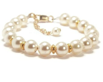 Baby Pearl Bracelet, Baby Bracelet, Pearl Bracelet, Youth Pearl Bracelet, Girls Bracelet, Girls Jewelry (B36)