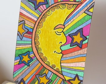 Magic Moon Original Drawing Painting ACEO Colorful Art Card on Watercolor Paper