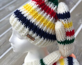 Crochet Hudson Bay Hat Beenie Touque with Faux Fur Pompom Crocheted with Matching Mittens