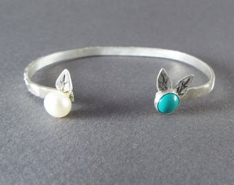 Sterling Silver Turquoise and Pearl Petite Cuff