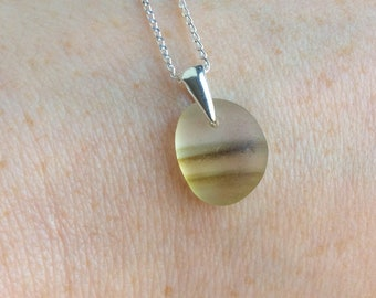 Yellow sea glass necklace - sterling silver - Seaham sea glass jewellery