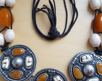 large metal disc tribal necklace