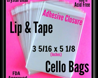 100 ( 3 5/16 x 5 1/8 ) Lip & Tape Cello Bags .. Clear Cello Bags, Print Sleeves, Cello Bags , Crystal Clear Adhesive Sleeves