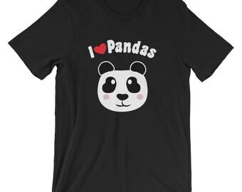 I Heart Pandas T-Shirt Love Panda Bear TShirt Mothers Day Birthday Gift Panda Lovers