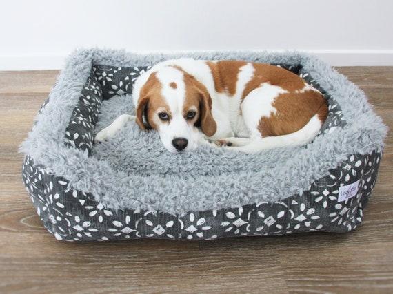 Lounger Dog Bed  - 'Batu' winter design in Sable canvas print with llama minky trim - SMALL, MEDIUM, LARGE