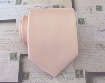 Pastel Peach Pale Apricot Mens Necktie With *FREE* Matching Pocket Square Set