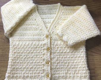 Printed Baby Crochet Cardigan Pattern in DK. Sizes: Birth to 6 years (1016)