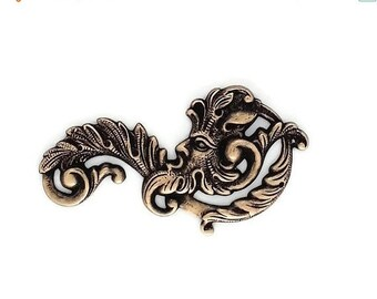 50off Green Man Fancy Leaf Scroll Filigree Ox Brass Stamping Father Time 55mm x 30 mm- Qty 1 Right Made in the USA