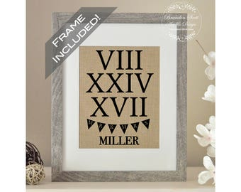 FRAME INCLUDED Roman Numeral Wedding Gift, Bridal Shower Gift, Roman Numeral Date, First Anniversary, Best Friend Wedding Gift, Christmas