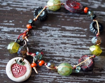 Unlisted - Strawberry Bracelet - Boho Bracelet - Red and Green - Knotted Bracelet - Rustic Jewelry - Bead Soup Jewelry
