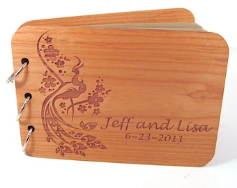 Real Wood Wedding Guest Book Photo Album - Peacock Design