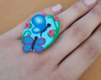 Maxi ring with adjustable base. Decoration Type Cameo Theme Butterflies