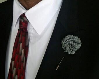 Gray Carnations Lapel Flower, Men's Lapel Flower, Flower Lapel Pin