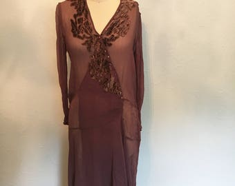 RARE 1920's chocolate brown 1920's dress / vintage 20's dress / 20's dresses