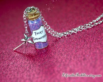 Fairy Godmother Bottle Necklace with a Magic Wand Charm, Godmother Necklace, Disney Cinderella Inspired, by Life is the Bubbles
