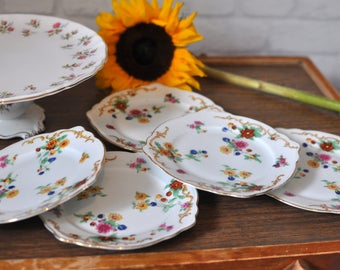 Pretty Set of 5 Vintage 1960s Floral Pattern Bread and Butter Plates, Vintage Side Plates, Decorative Plates, Cake Plates